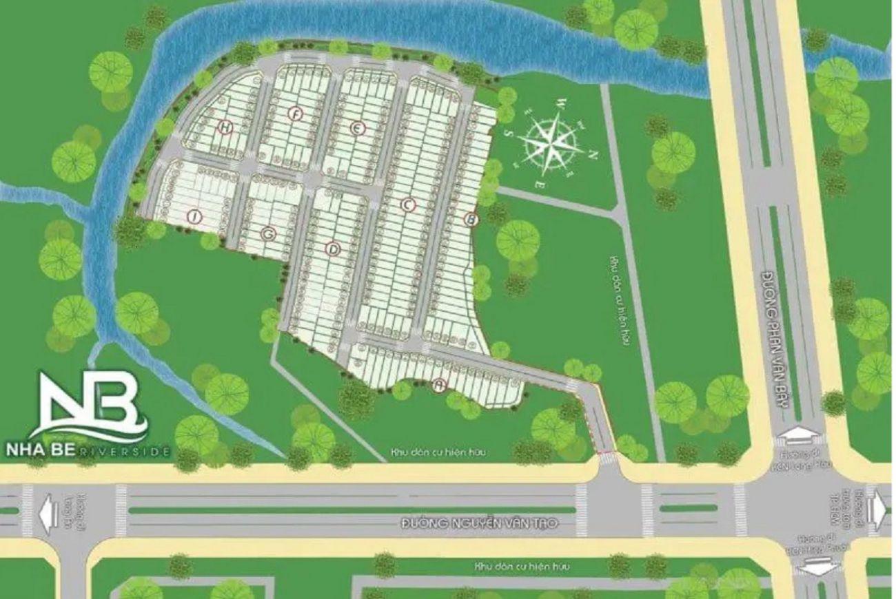Mặt bằng phân lô của Khu dân cưNhà Bè Riverside