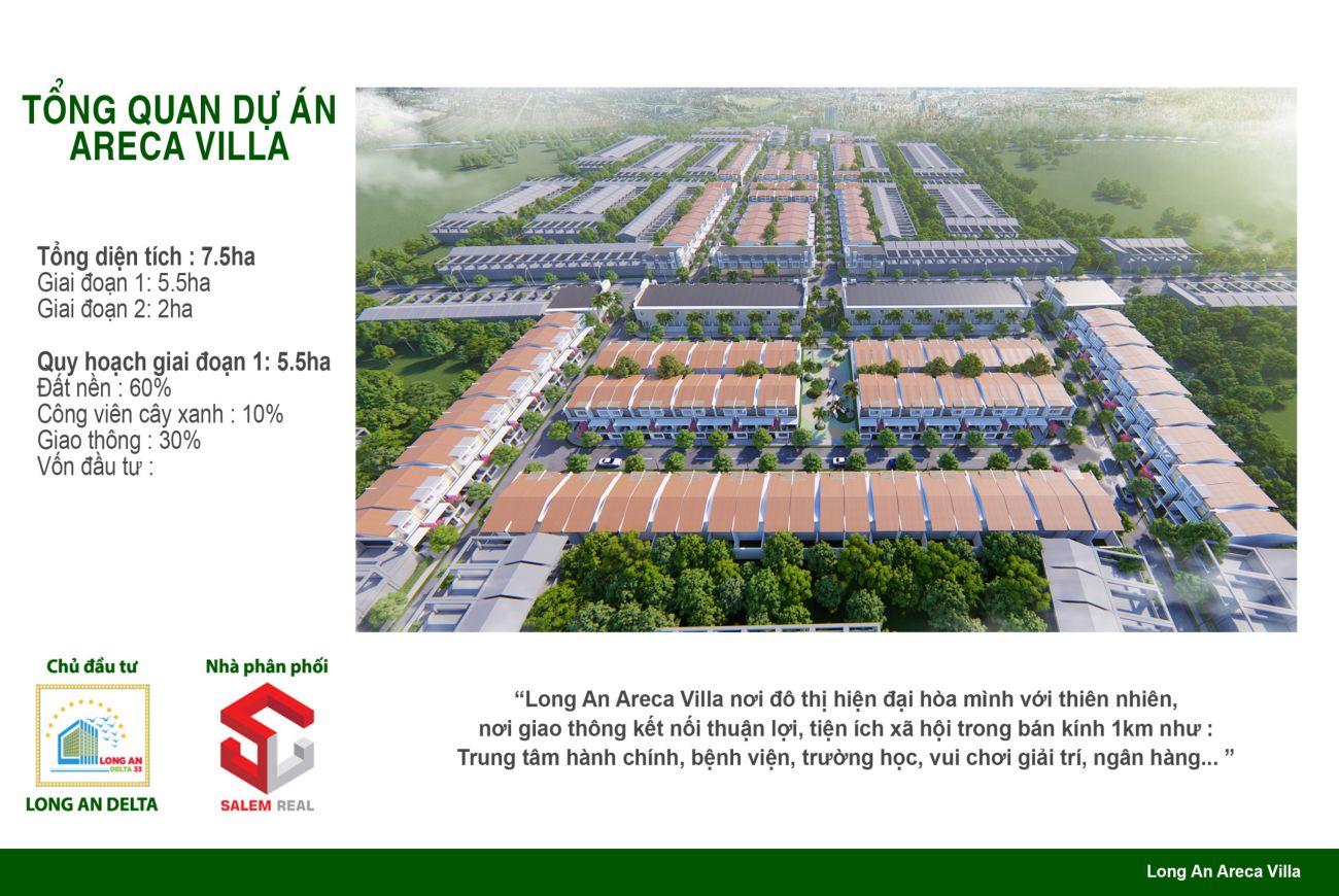 Quy mô và thông tin chi tiết về Dự án Nhà Phố Areca Villa Long An.