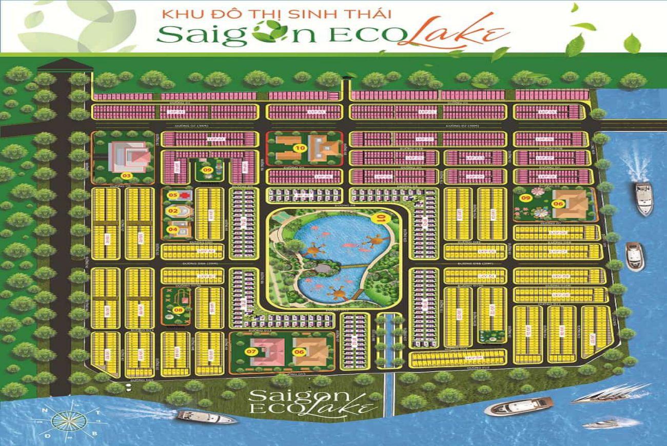 Mặt bằng phân lô của Khu đô thị Saigon Eco Lake Long An.