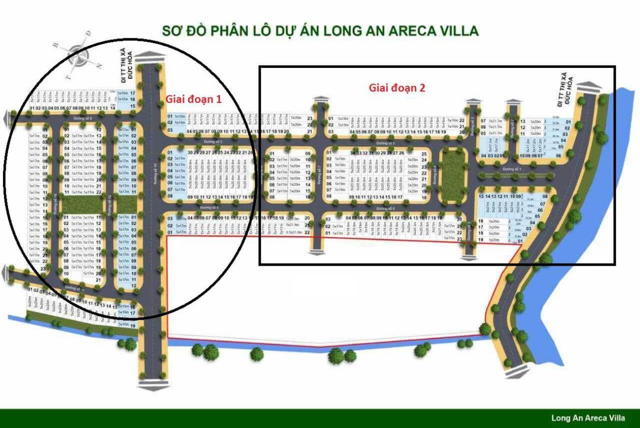 Mặt bằng phân lô của Khu đô thị Areca Villa Long An.