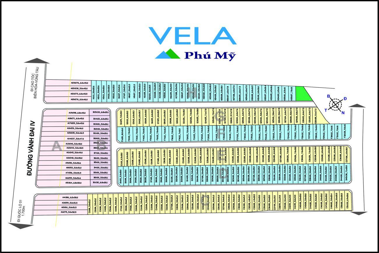 Mặt bằng phân lô của Khu đô thị Vela Phú Mỹ