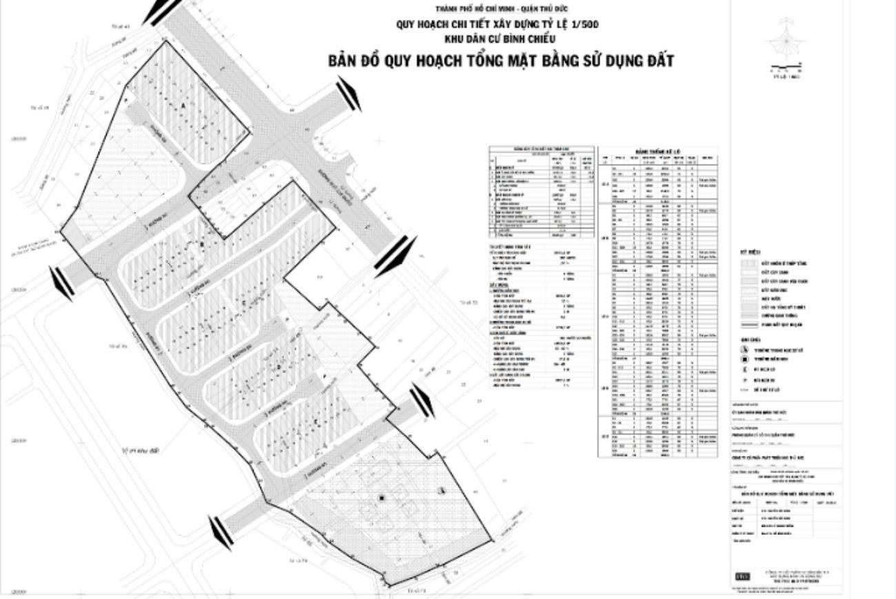 Mặt bằng phân lô của Khu dân cưBình Chiểu Thủ Đức
