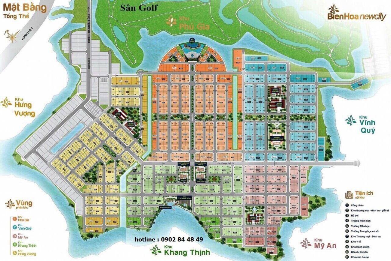 Mặt bằng phân lô của Khu đô thị Biên Hòa New City Đồng Nai