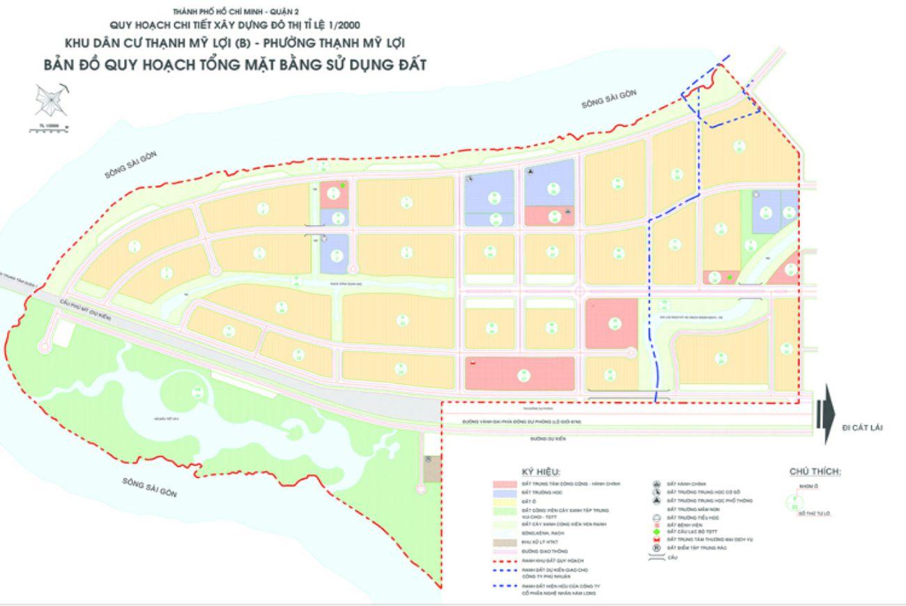 Mặt bằng phân lô của Khu đô thị Khu dân cư Thạnh Mỹ Lợi B Quận 2