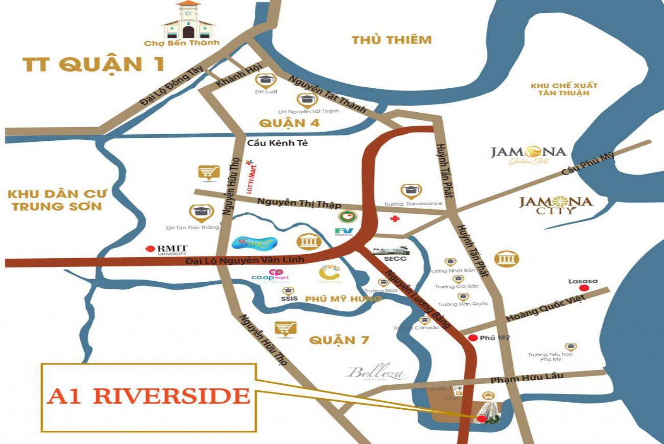 Vị trí chiến lược tại căn hộ A1 Riverside Quận 7