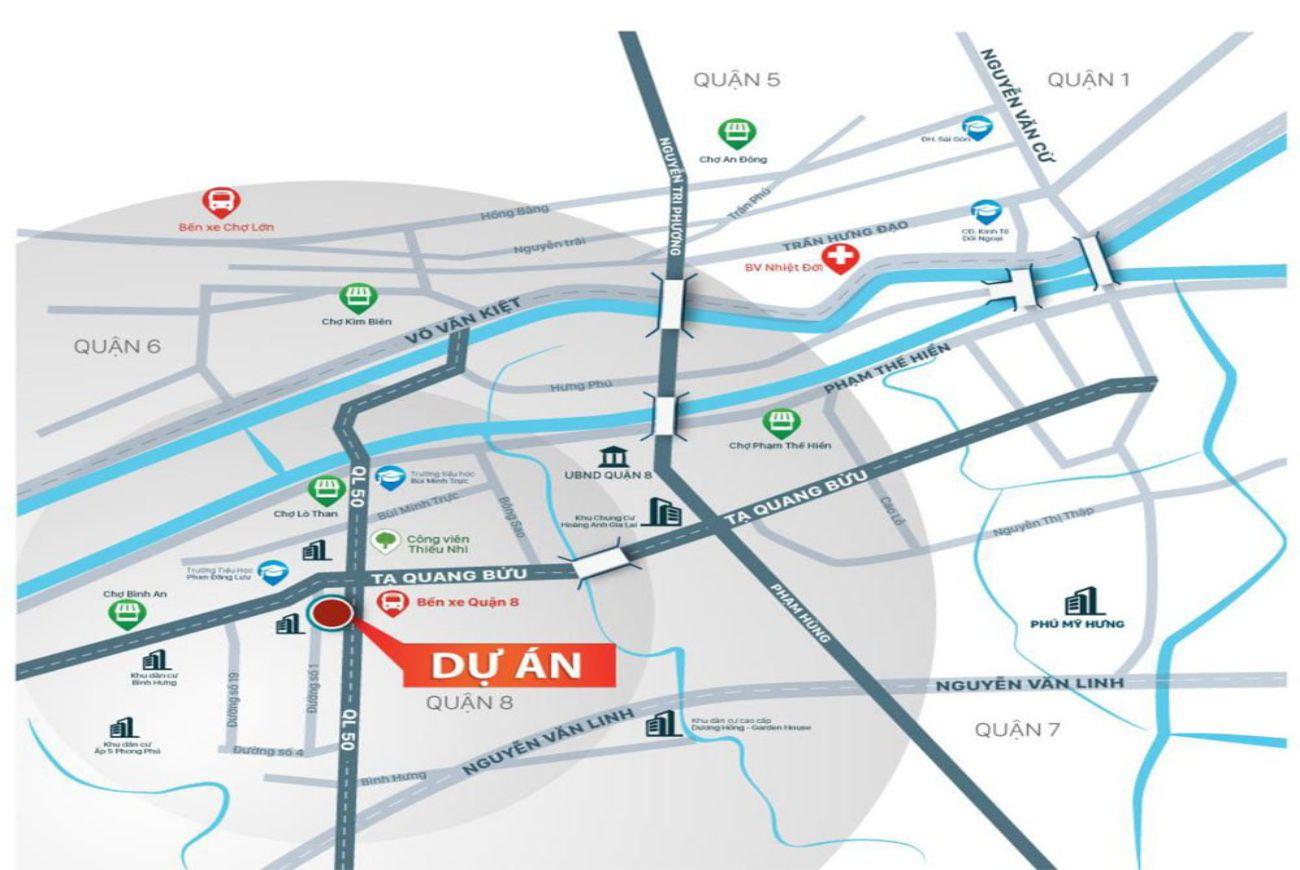 Vị trí chiến lược tại Biệt Thự Saigon Metro Mall Quận 8