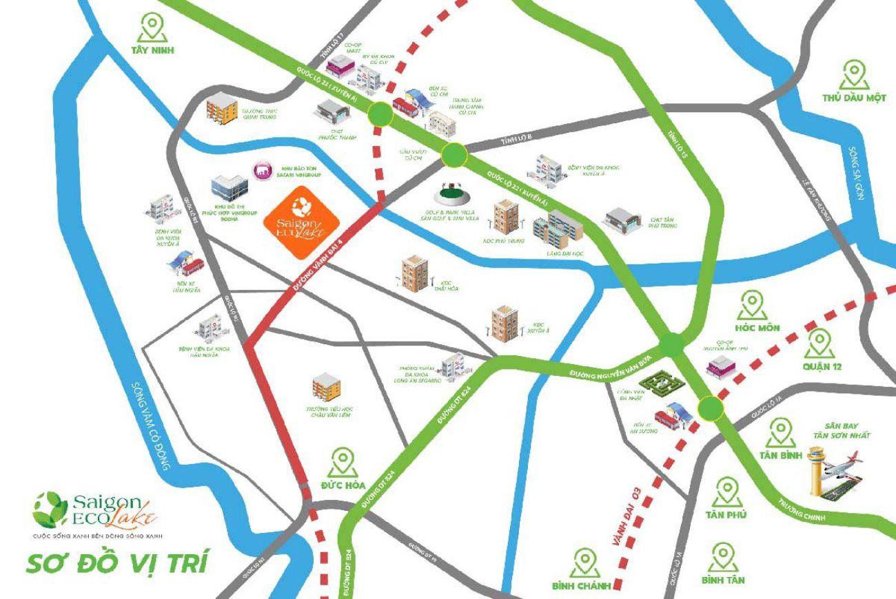 Vị trí chiến lược tại Biệt Thự Saigon Eco Lake Long An.