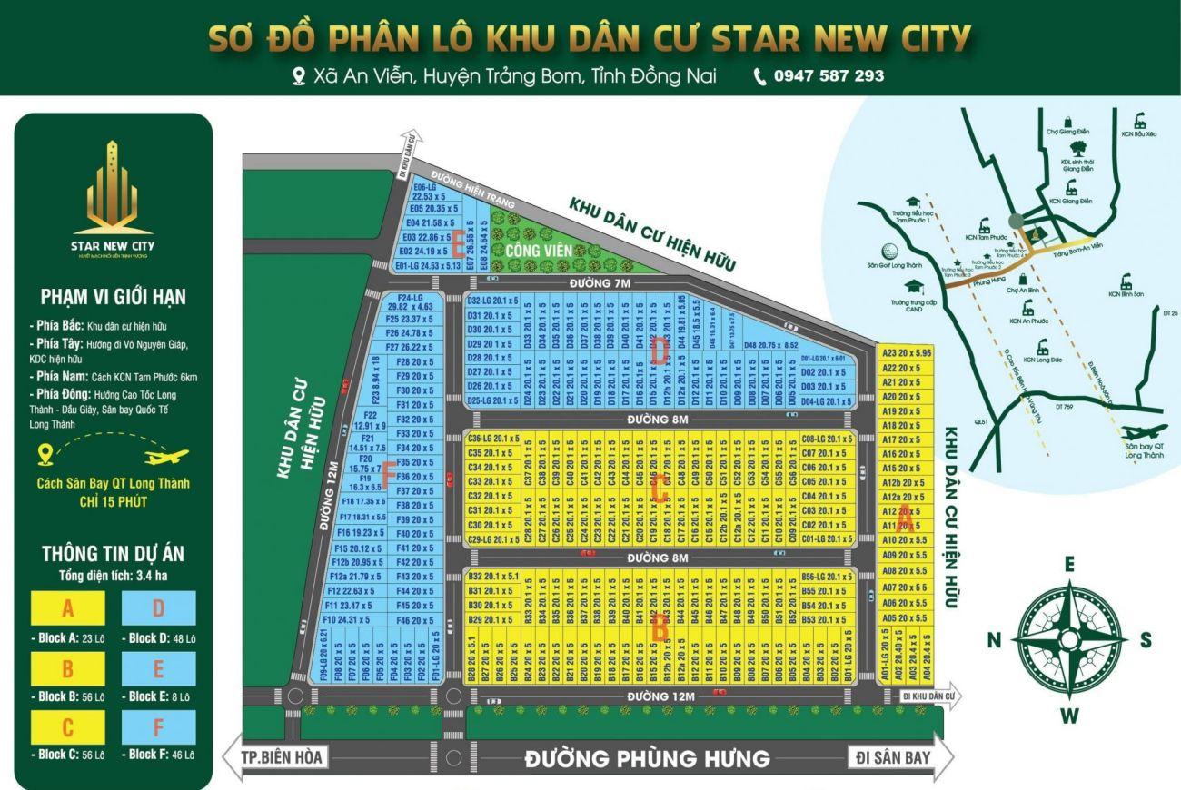 Mặt bằng phân lô của Khu đô thị New Star 824 Long An.