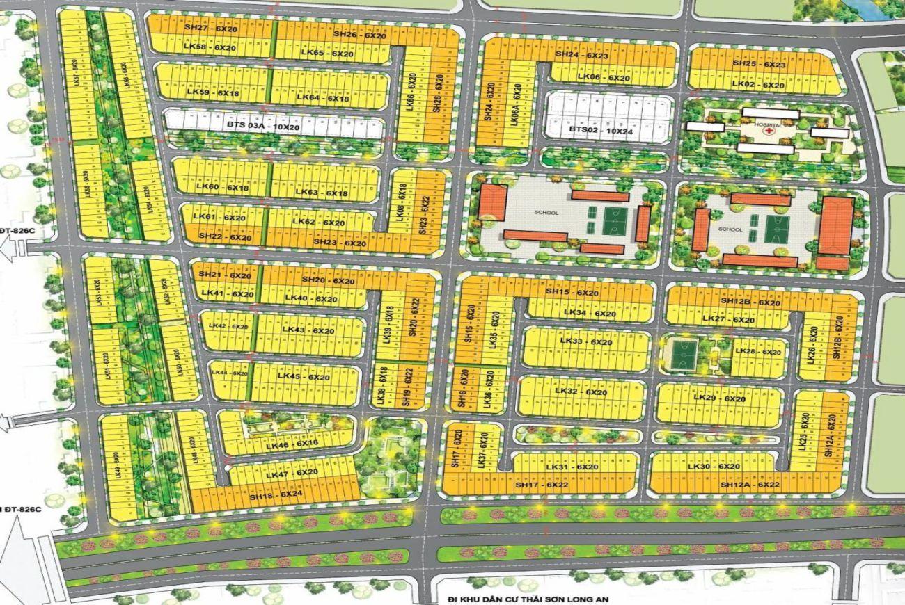 Mặt bằng phân lô của Khu đô thị T&T Millennia City Long Hậu Long An