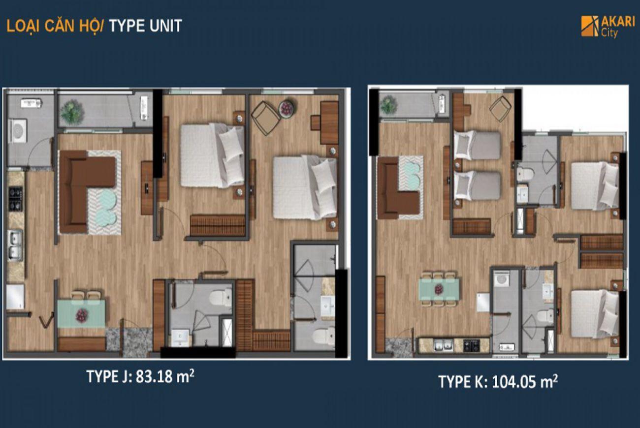 Thiết kế chi tiết căn hộ Akari City Bình Tân