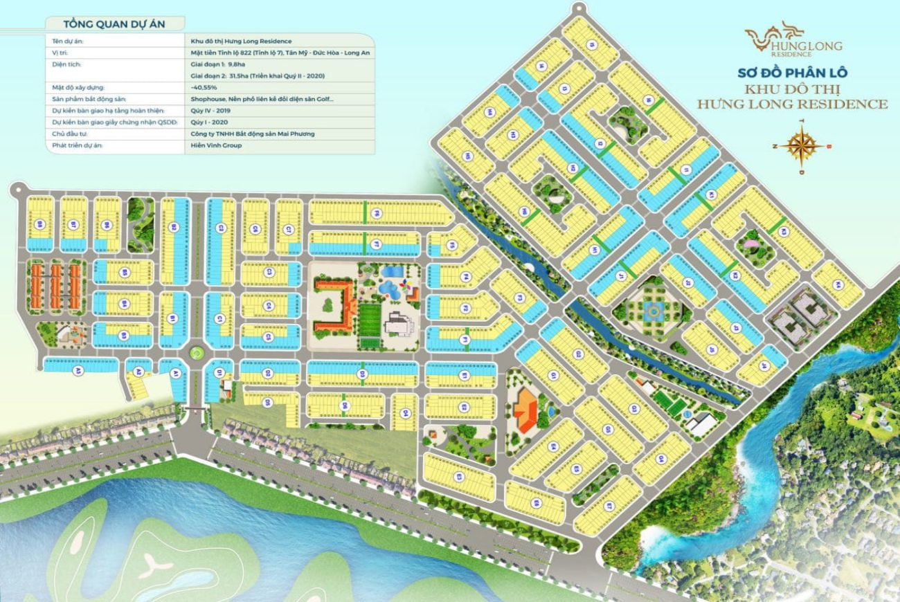 Mặt bằng phân lô của Khu đô thị Hưng Long Residence An.