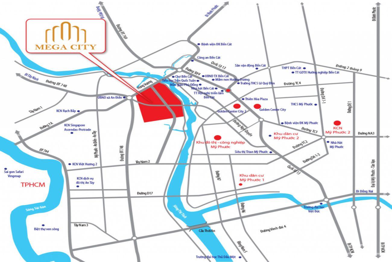 Vị trí chiến lược tại Tân Phú Mega City 3 Bình Dương