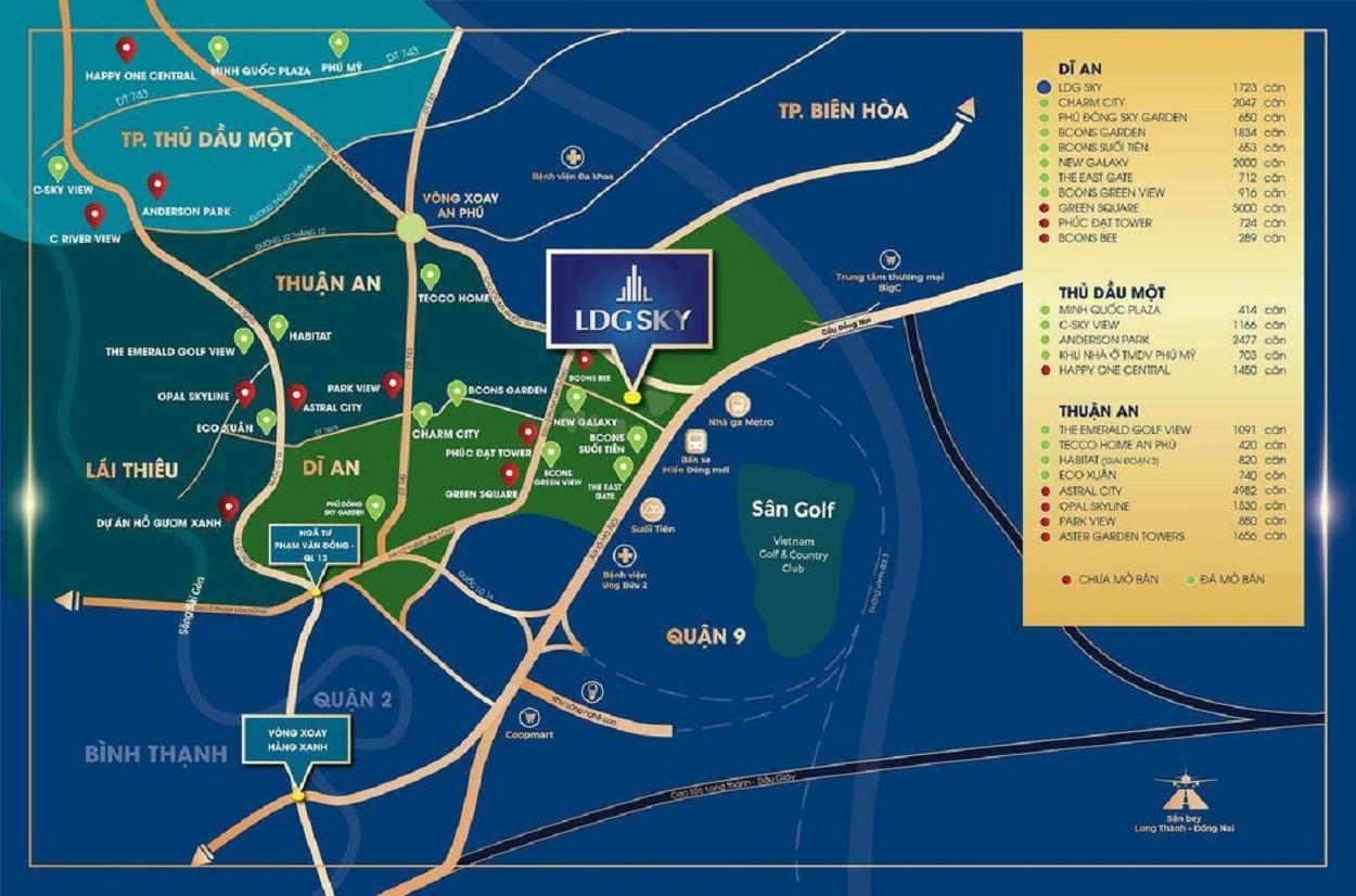 Vị trí địa chỉ dự án căn hộ chung cư LDG Sky Bình Dương