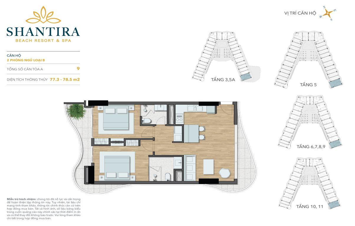 Mặt bằng căn hộ 2 phòng ngủ 02