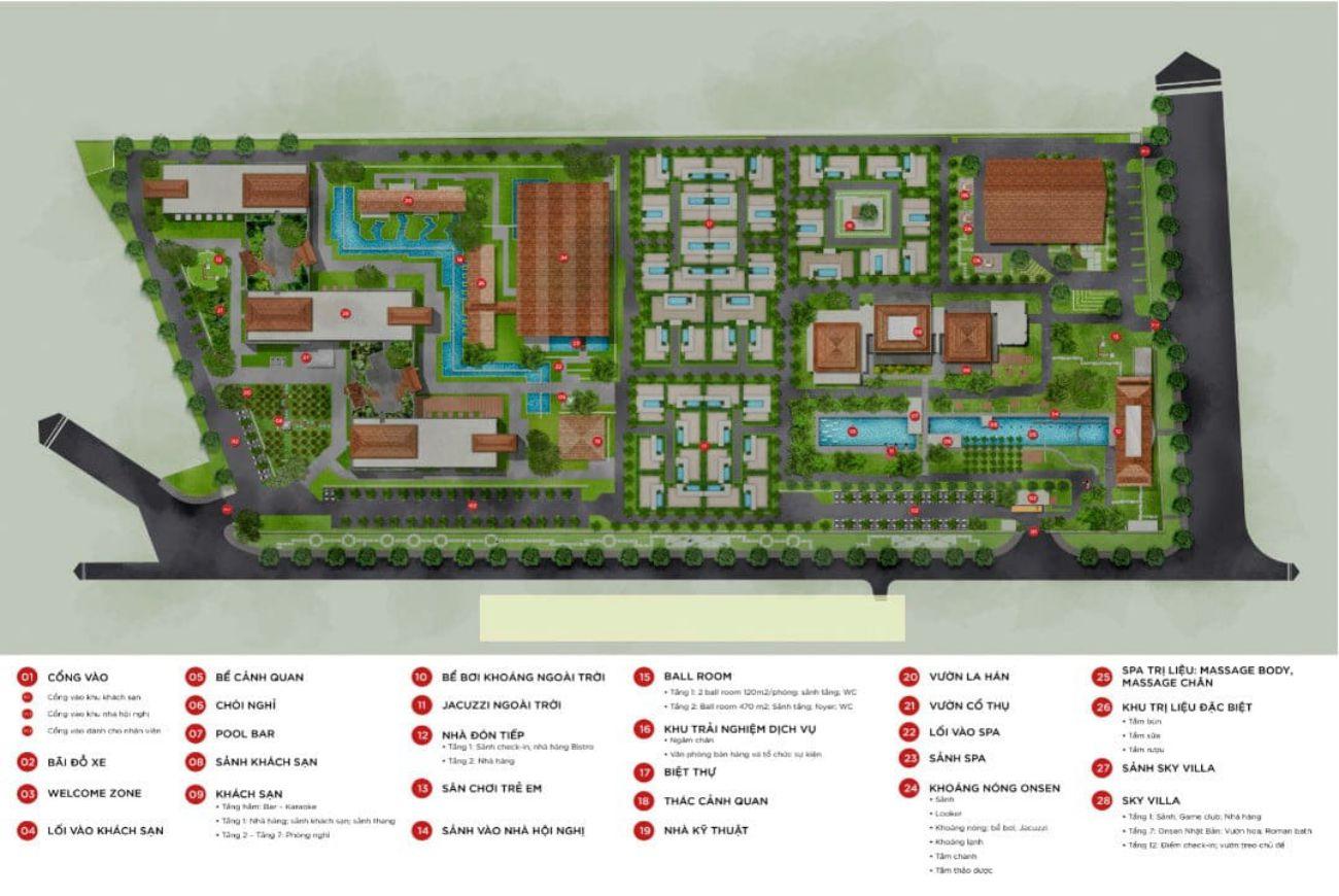Mặt bằng phân lô của Khu nghĩ dưỡng Apec Mandal Hot Spring Retreat Kim Bôi Hòa Bình