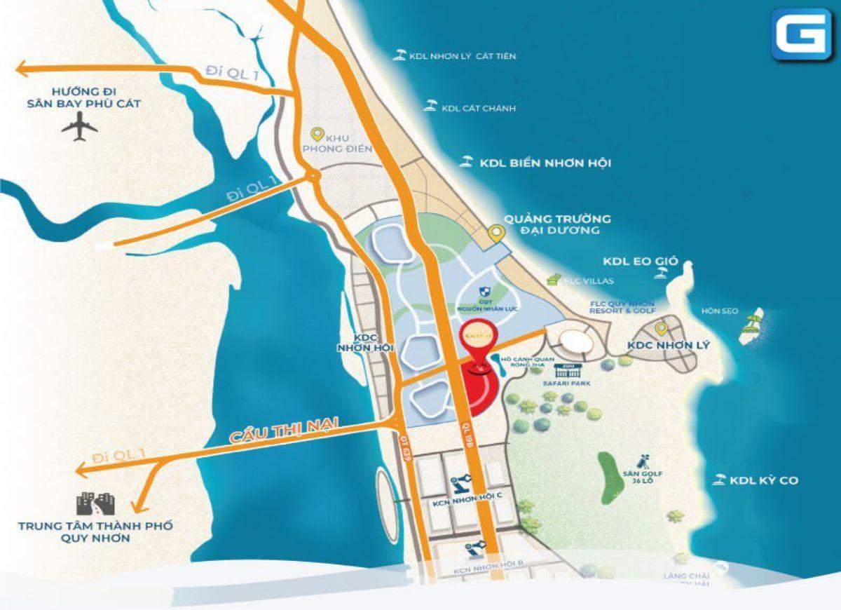 Vị trí chiến lược tại Condotel Takashi Ocean Suite Kỳ Co Quy Nhơn