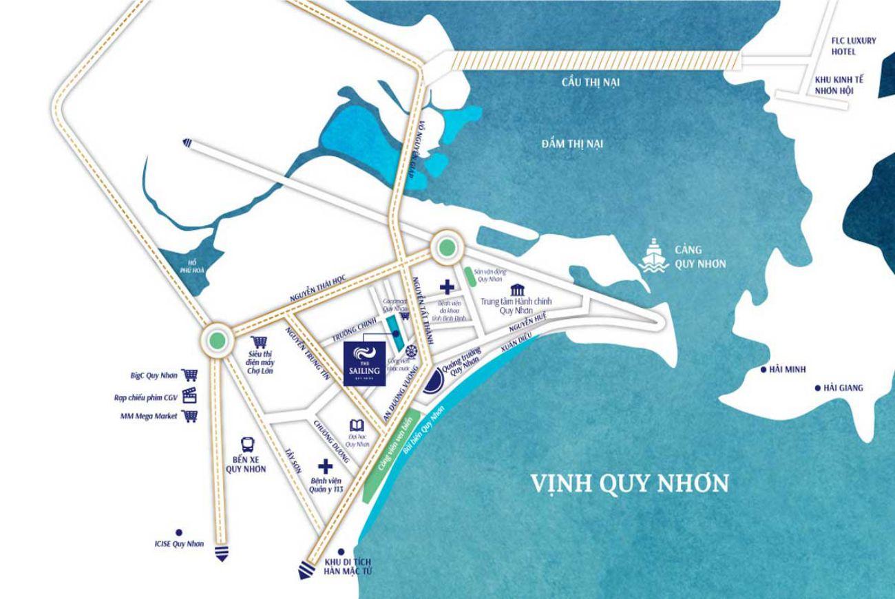 Vị trí chiến lược tại Căn hộ The Sailing Quy Nhơn